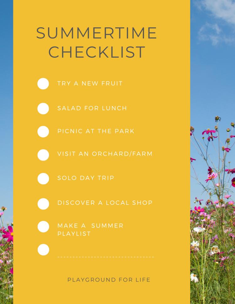 Summertime checklist